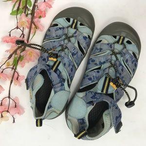 KEEN Youth Sport Waterproof Sandals Blue Floral 4